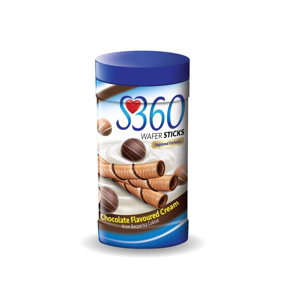 S360 Wafer Sticks (Chocolate Flavoured Cream) (180G x 24Jars)