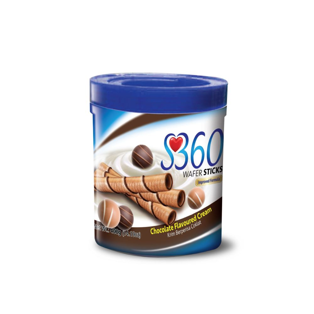 S360 Wafer Sticks (Chocolate Flavoured Cream) (400G x 12Jars)