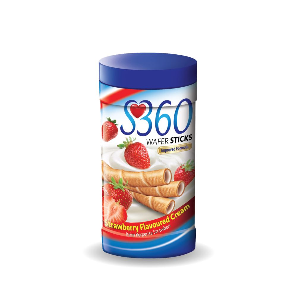 S360 Wafer Sticks (Strawberry Flavoured Cream) (180G x 24Jars)