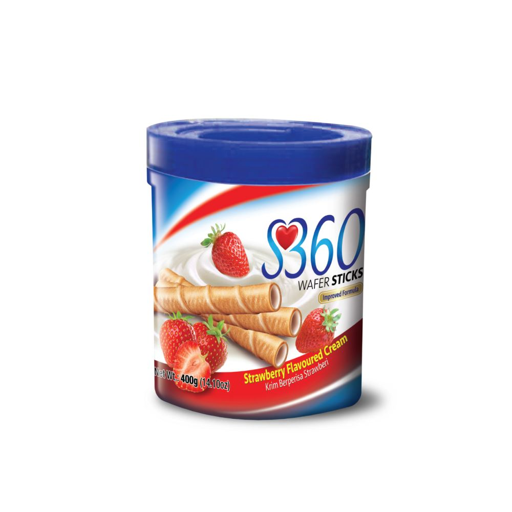 S360 Wafer Sticks (Strawberry Flavoured Cream) (400G x 12Jars)