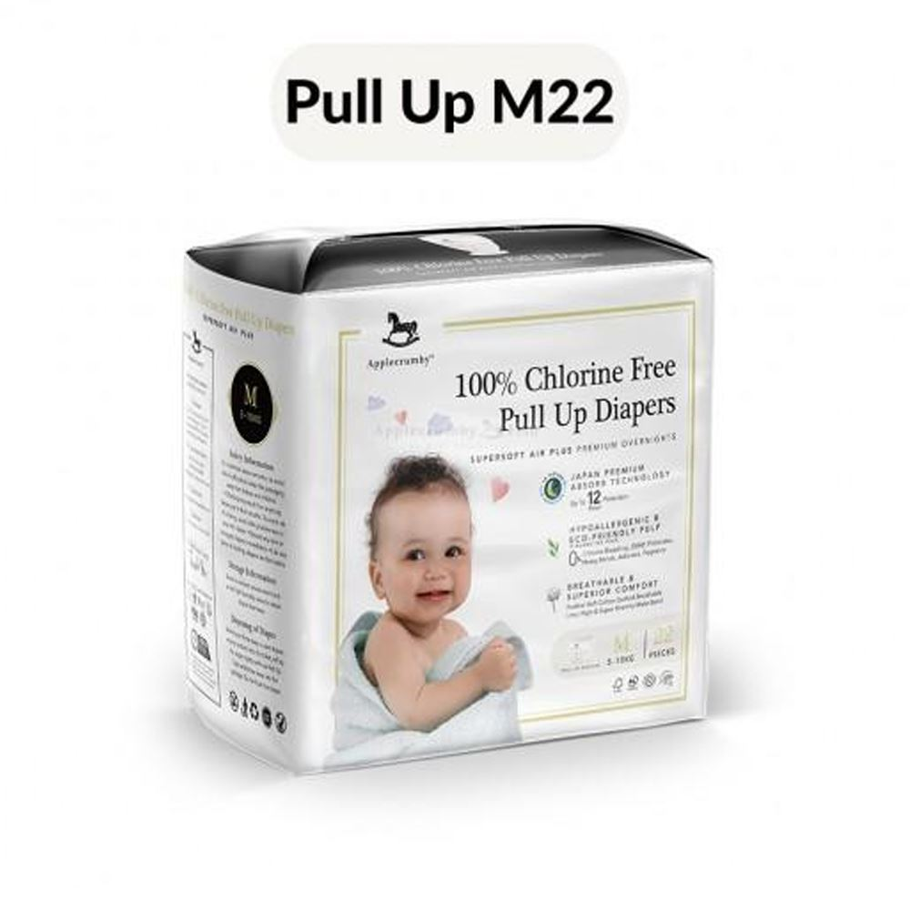 Applecrumby™ 100% Chlorine Free Premium Baby Pull Up Diapers (M22 Pants x 1 Pack)