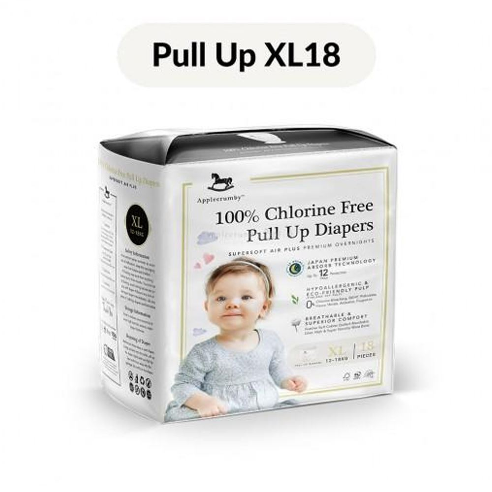 Applecrumby™ 100% Chlorine Free Premium Baby Pull Up Diapers (XL18 Pants x 1 Pack)