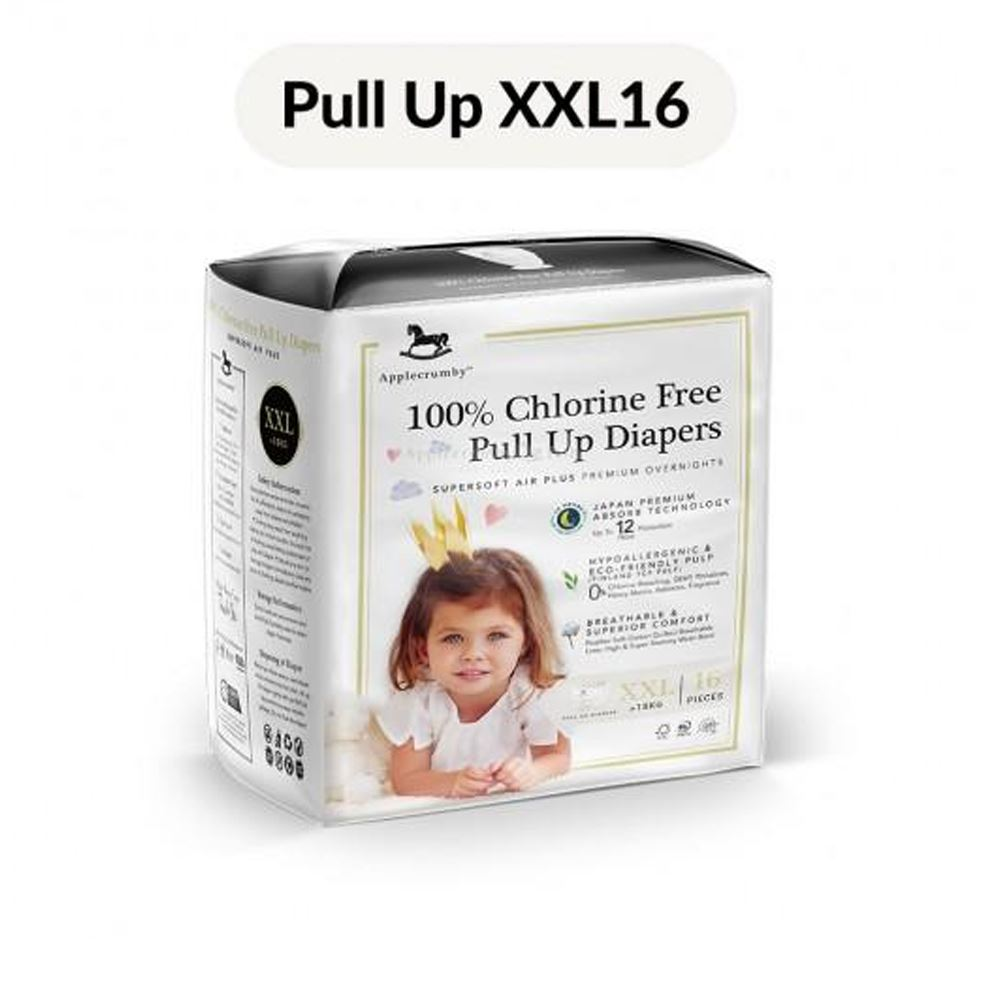Applecrumby™ 100% Chlorine Free Premium Baby Pull Up Diaper (XXL16 Pants x 1 Pack)