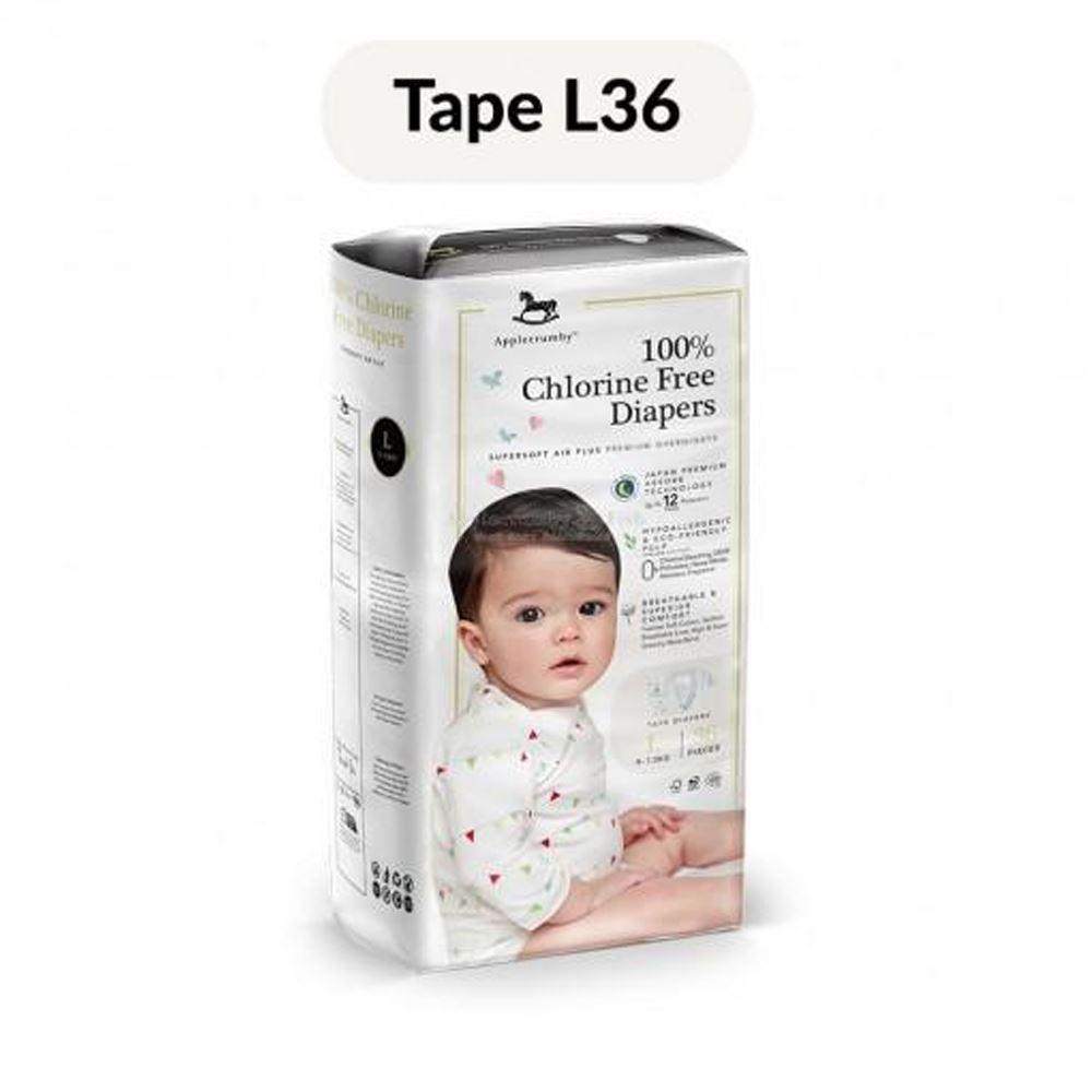 Applecrumby™ Chlorine Free Premium Baby Diapers (L36 x 1 Pack)