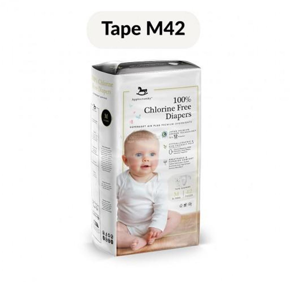 Applecrumby™ Chlorine Free Premium Baby Diapers (M42 x 1 Pack)