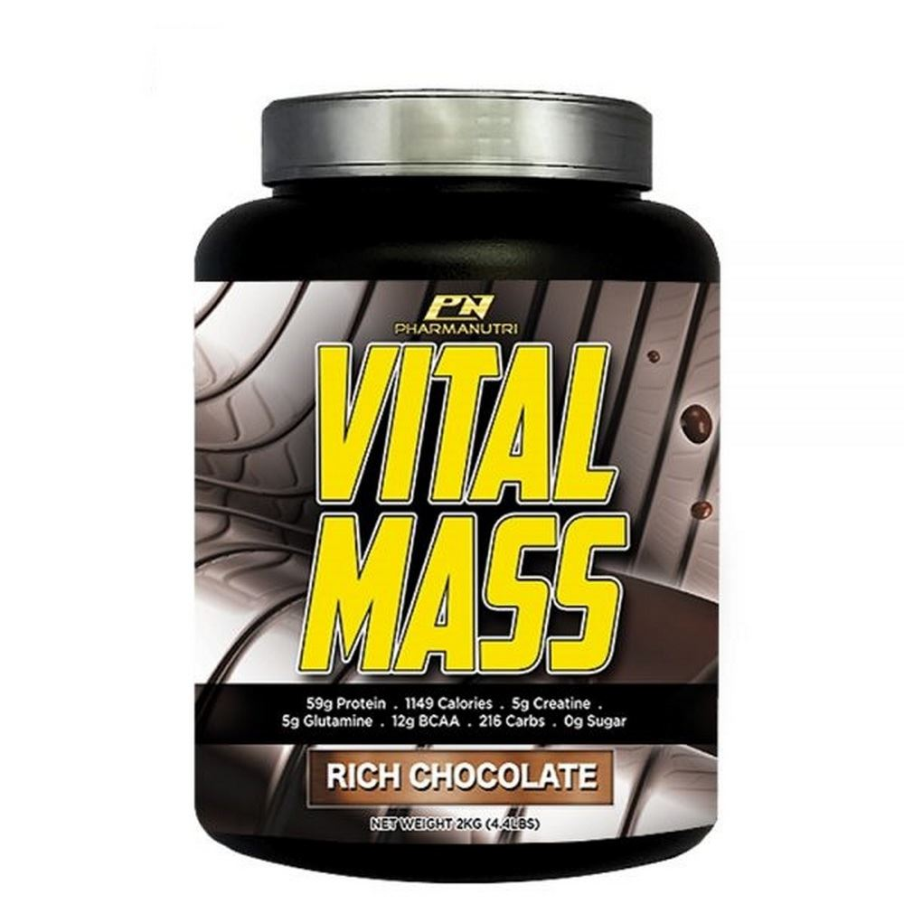 Vital Mass 2kg/4.41lbs, 0g Sugar, with Whey Isolate & Tribulus (Rich Chocolate)
