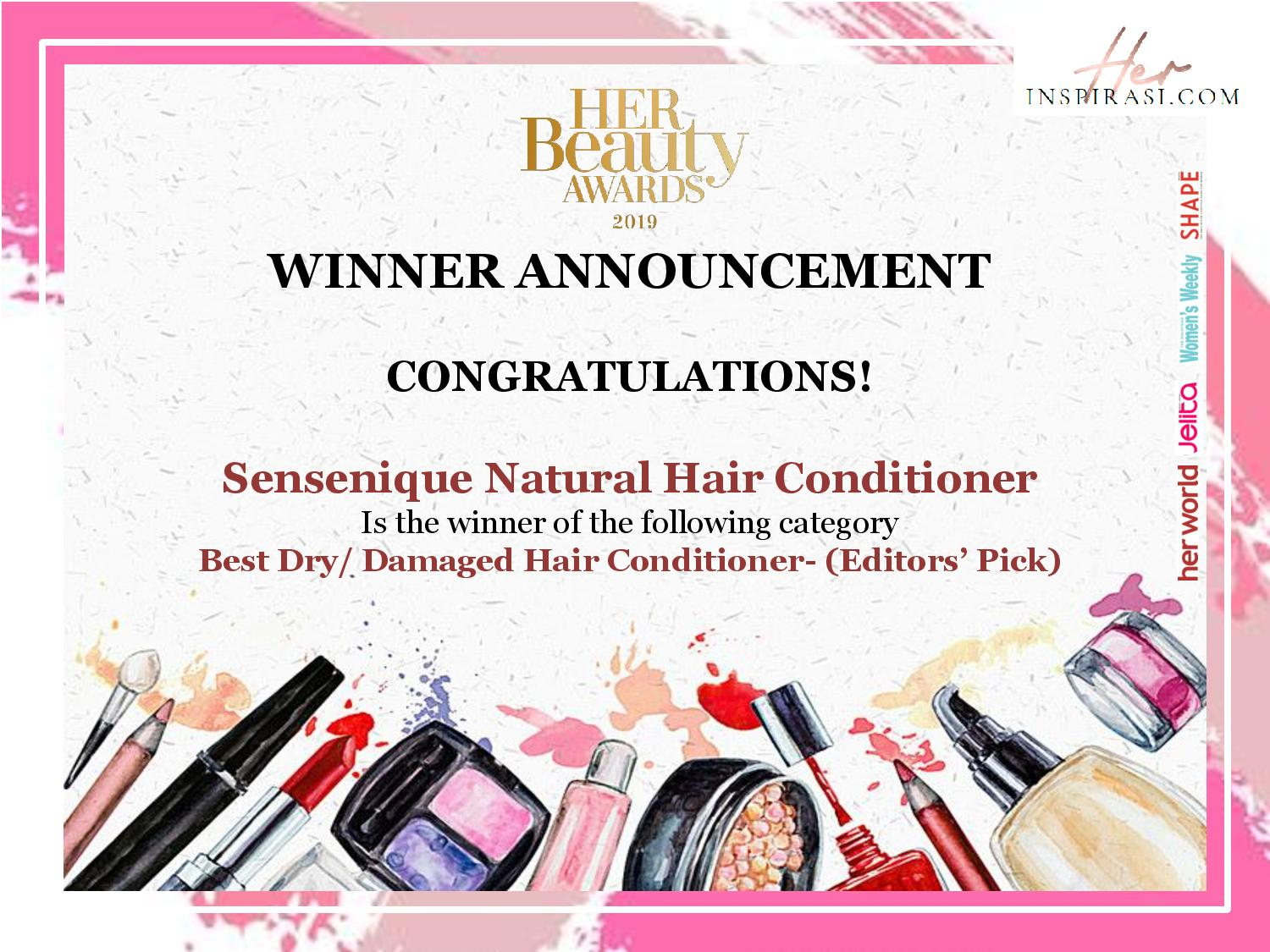 HER BEAUTY AWARDS 2019 - Editors' Pick for Best Dry Damaged Hair Conditioner