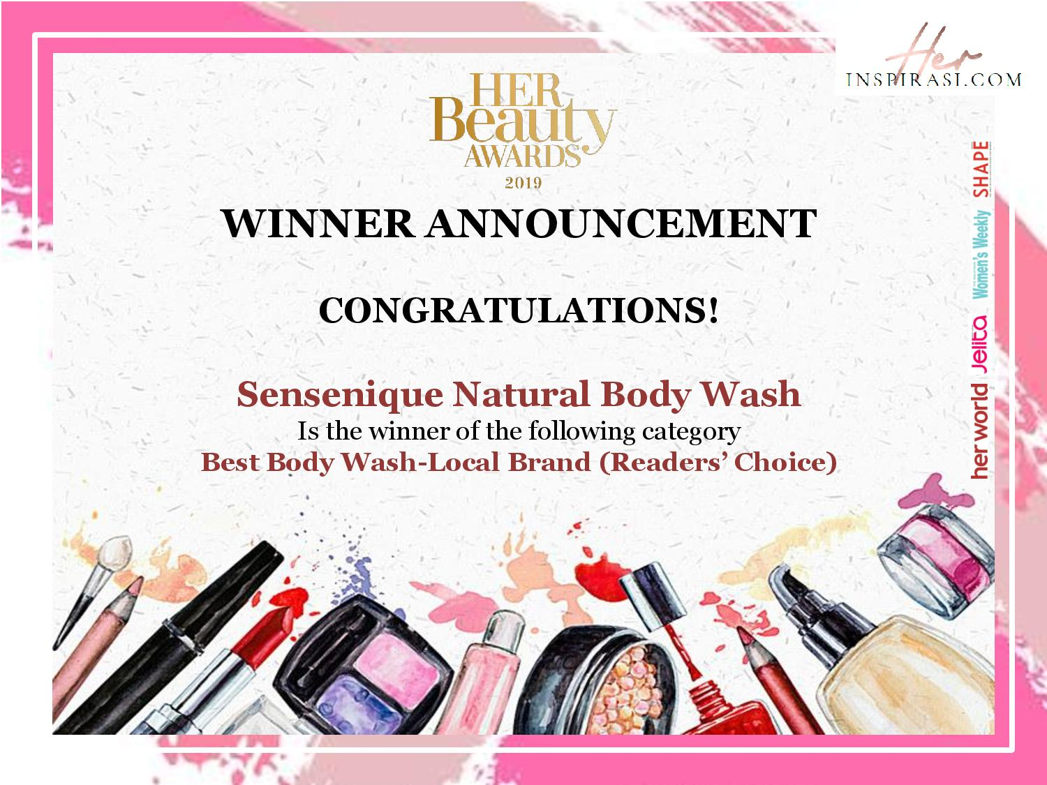 HER BEAUTY AWARDS 2019 - Readers' Choice Sensenique Natural Body Wash
