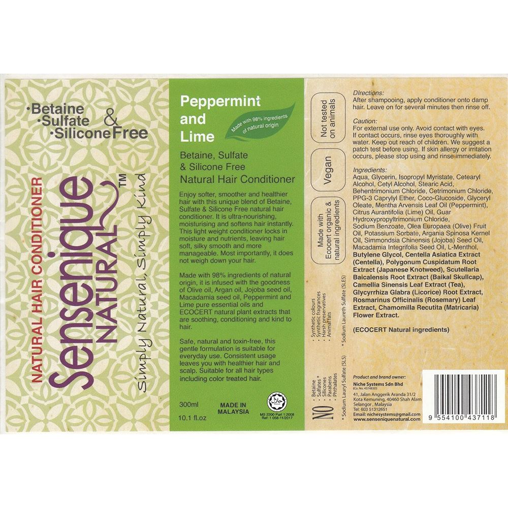 Sensenique Natural Peppermint Lime Hair Conditioner