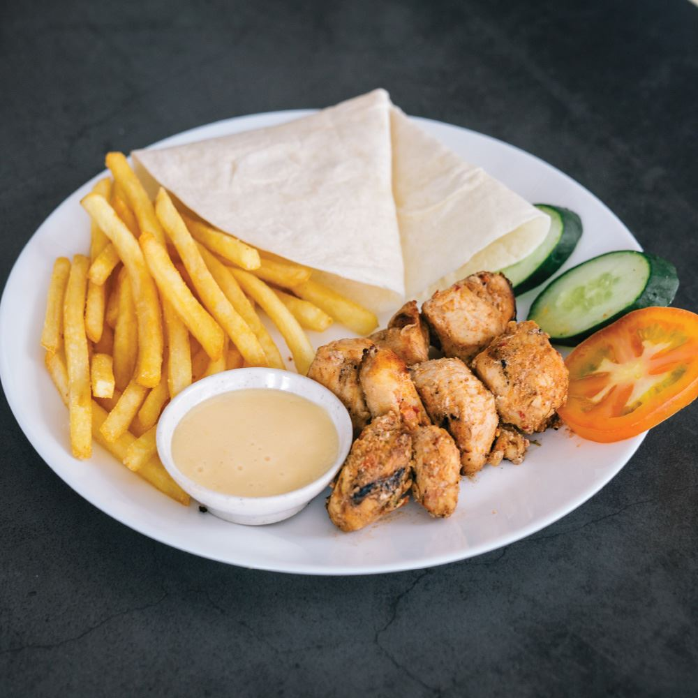 Shish Tawook Grilled Chicken With Wrap And Fries