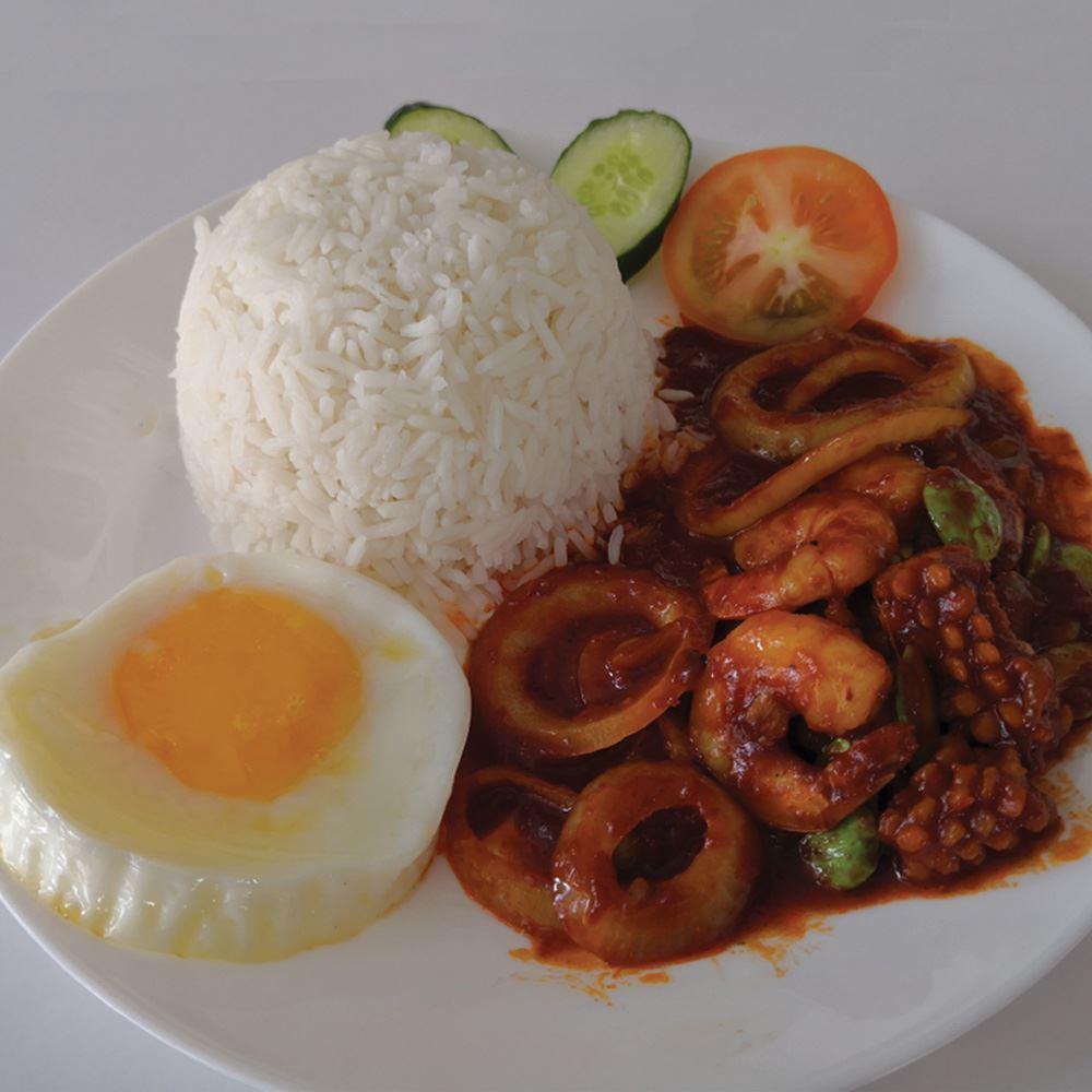 Sambal Petai prawns With rice