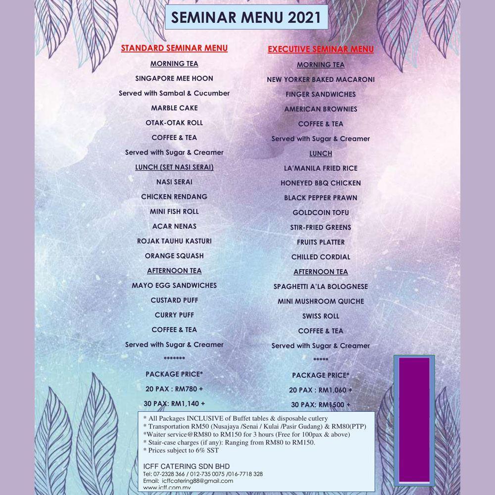 Seminar Menu 2021