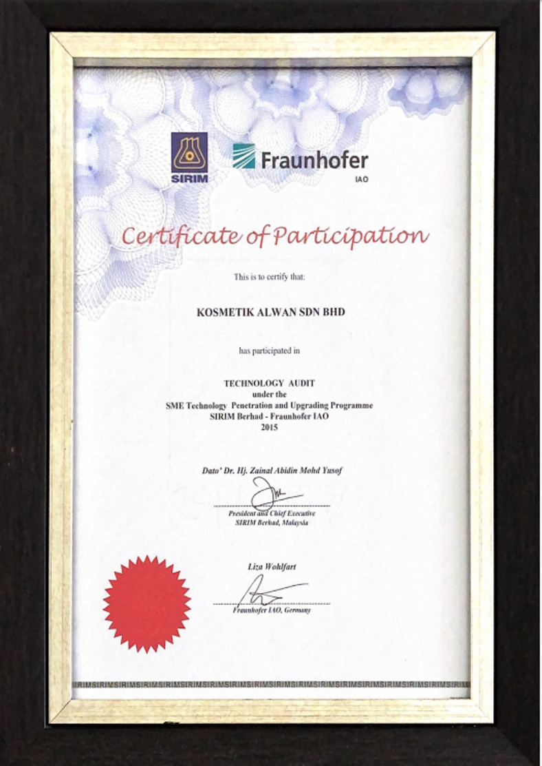 Certification of Participation in Technology Audit under SIRIM