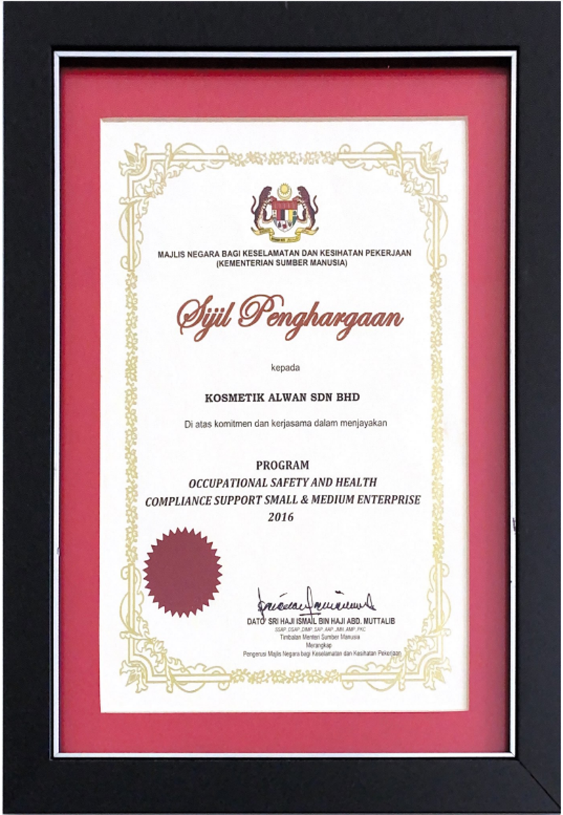 Sijil Penghargaan Program Occupational Safety And Health Compliance Support Small & Medium Enterprise