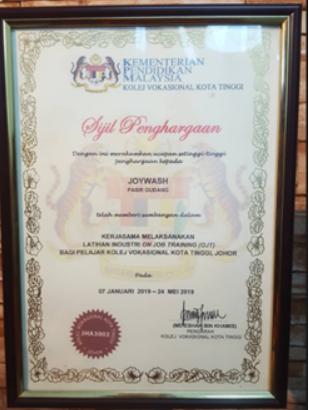 Certificate of Appreciation on collaborating for Latihan Industri On Job Training (OJT) Pelajar Kolej Vokasional Kota Tinggi, Johor