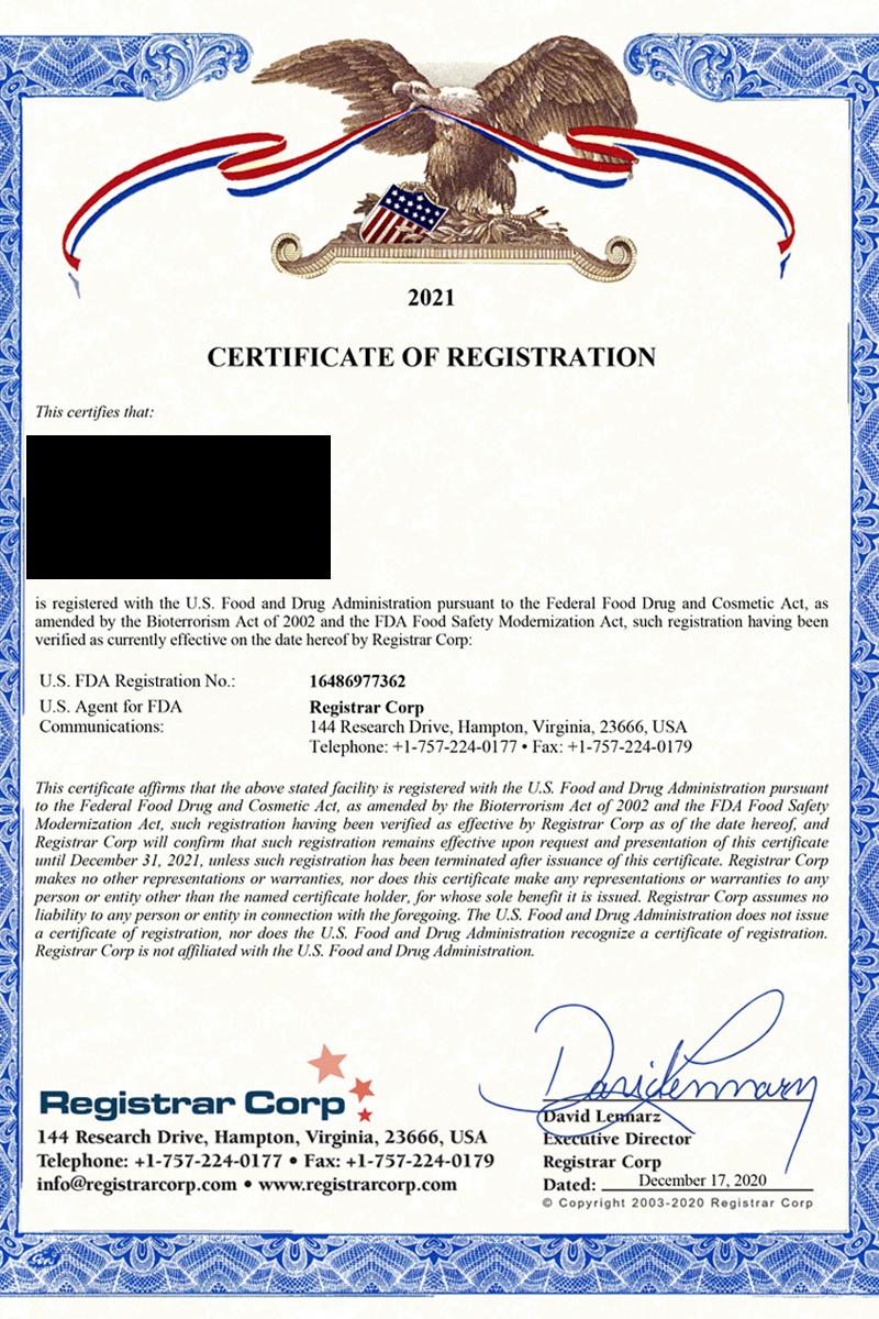 FDA Registered Certification