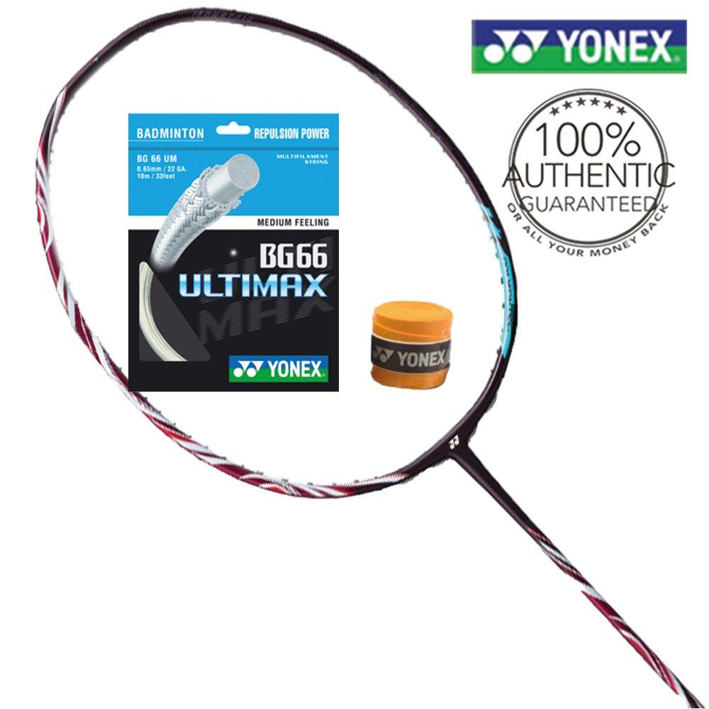 Yonex Astrox 100ZZ Kurenai Badminton Racket (C/W Yonex String & Ac102 Overgrip)