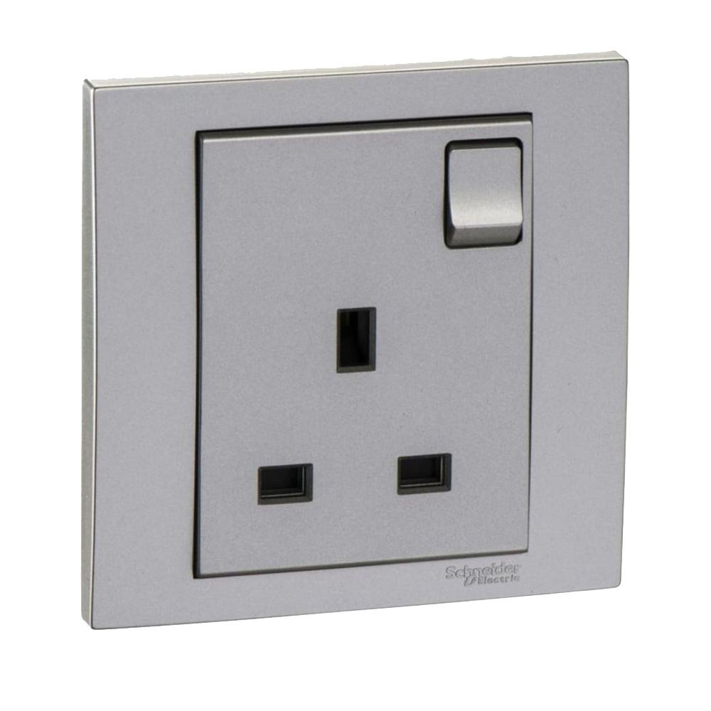 Schneider Vivace Kb15 As 1Gang Switch Socket - Aluminium Silver