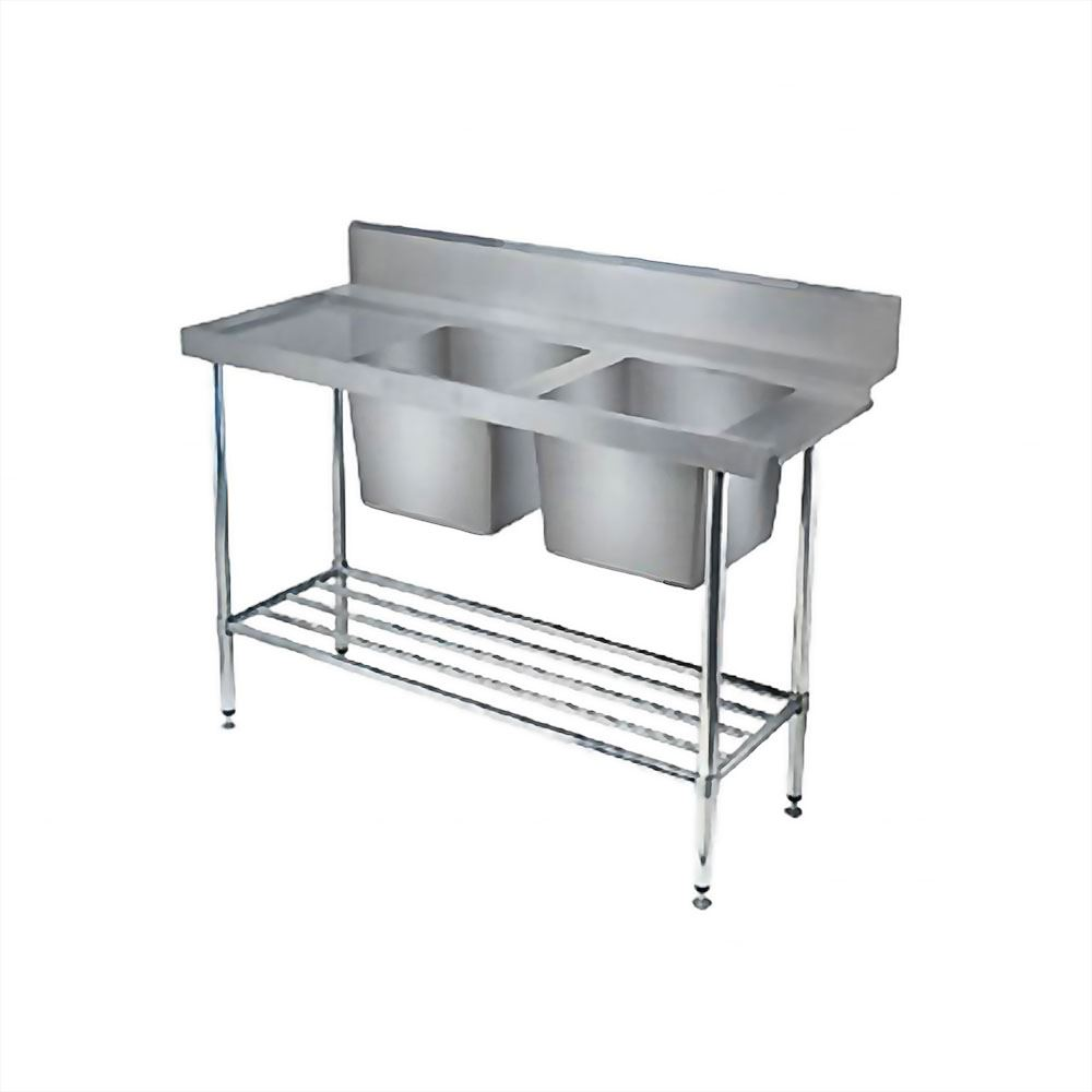 CNOX Double Bowl Sink Table with Slatted Undershelf & Backsplash