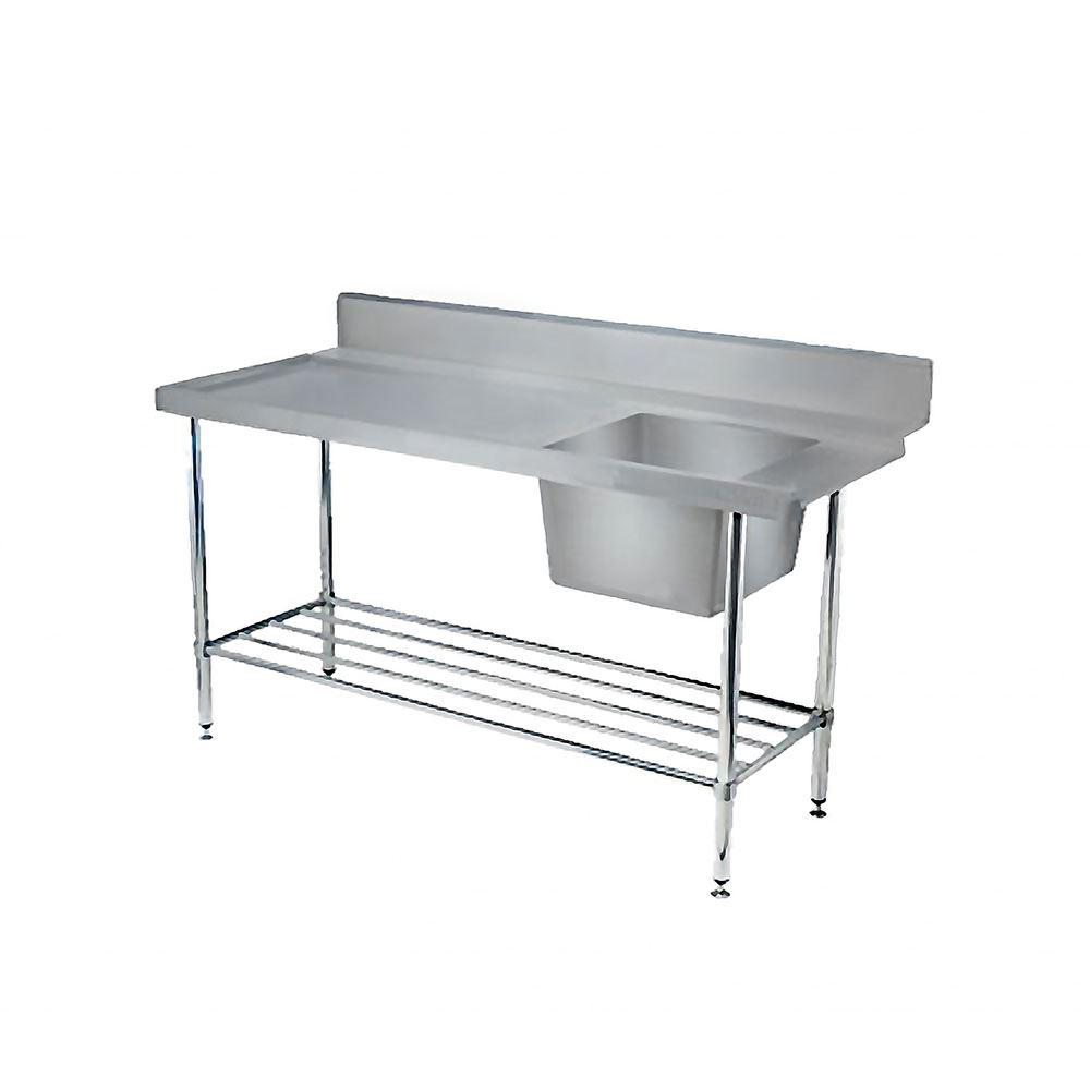 CNOX Single Bowl Sink Table with Slatted Undershelf & Backsplash