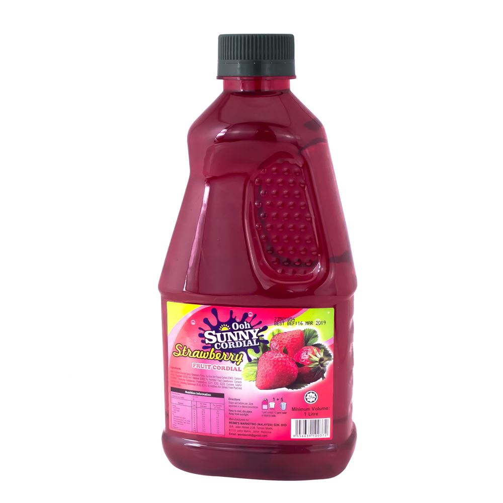 Ooh Sunny Cordial Concentrate – Real Strawberry Fruit Juice